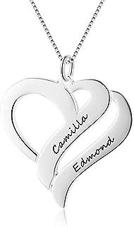 Collar de mujer grabado personalizado con 2 nombres de cadena de plata de ley 925 BFF Colgante en forma de corazón Collares de amistad para aniversario