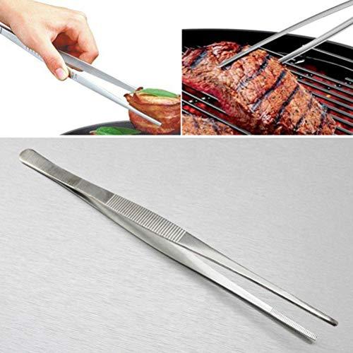 RUIYELE 2 pinzas de acero inoxidable para alimentos, pinzas largas profesionales para cocina y cocina, extra largas de precisión, para barbacoa, alimentación de mascotas, clips de barbacoa, 25/30 cm