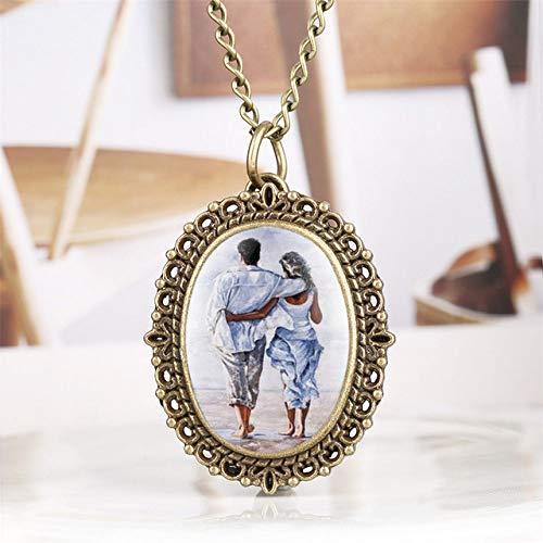 HUABiao Reloj de Bolsillo Bronce romántico Amante Pantalla Cuarzo Colgante Reloj Vintage Collar joyería Reloj CadenaReloj Regalos para Dama Mujer, Bronce 3