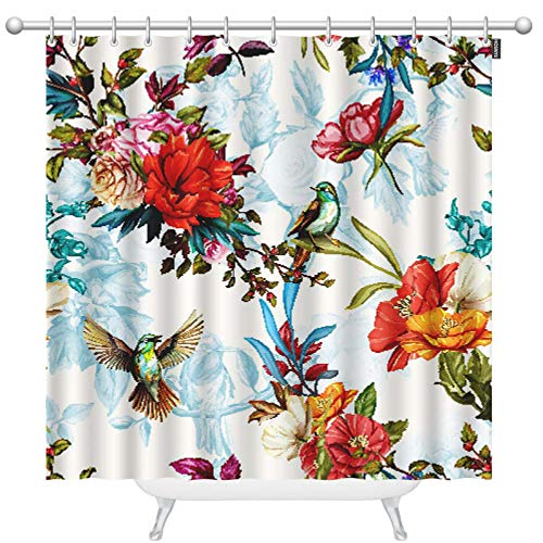 HOSNYE Humming Bird Shower Curtain Set with 12 Hooks Poppy Rose Nightingale Birds Leaves and Floral Bath Curtains Modern Bathroom Accessories 72 x 78 inch