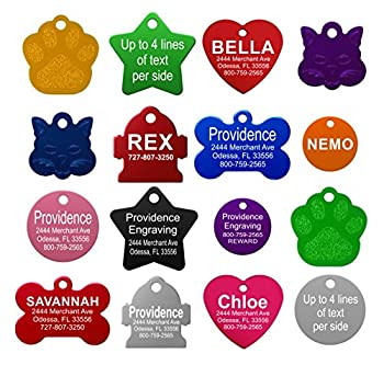 Providence Engraving Pet ID Tags - Small or Large Personalized Anodized Aluminum Pet ID Tags in Bone Round Star Heart Hydrant Paw and Cat Face Shapes and 9 Colors for Dog Tags and Cat Tags