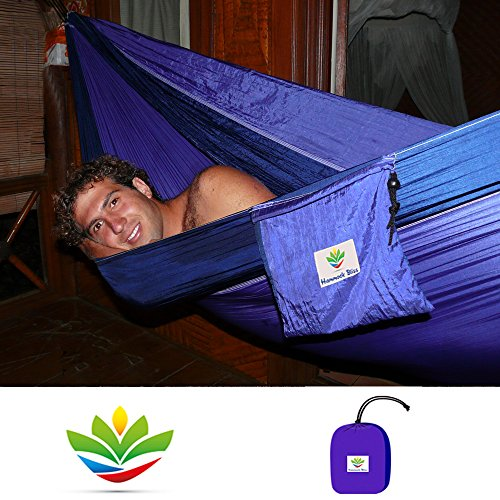 Hammock Bliss Double - Extra Large Portable Hammock - Ideal For Camping, Backpacking, Kayaking & Travel - 100' / 250 cm Rope Per Side Included - Quality You Can Trust