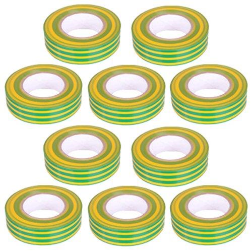 10 Stück PVC Isolierband Klebeband 10 Meter lang 15 mm breit -gelb/grün-