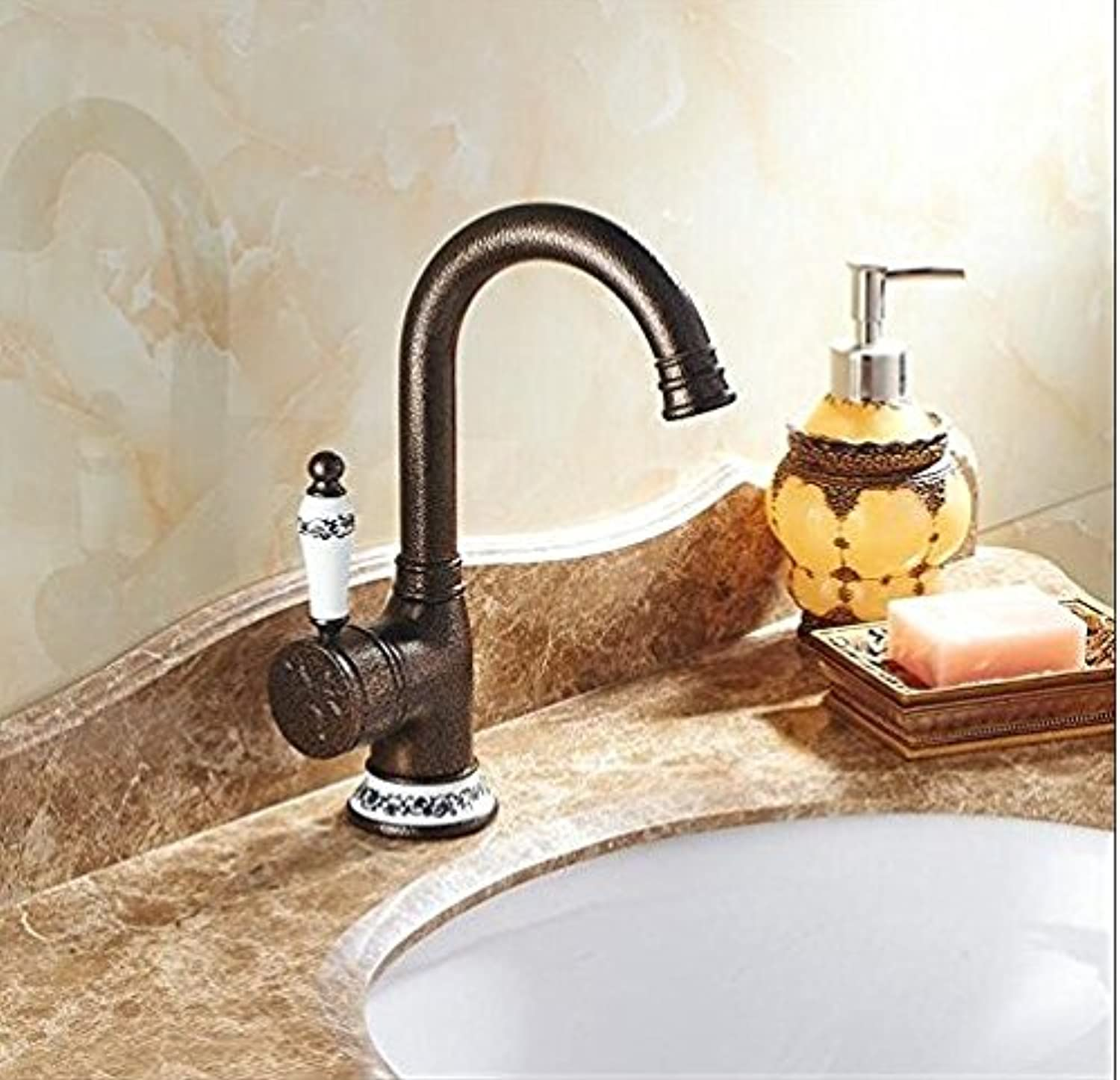 Diongrdk Bronze Finish Bathroom Faucets Kitchen Faucet Basin Faucets Single Handle Hot and Cold Basin Faucet Tap
