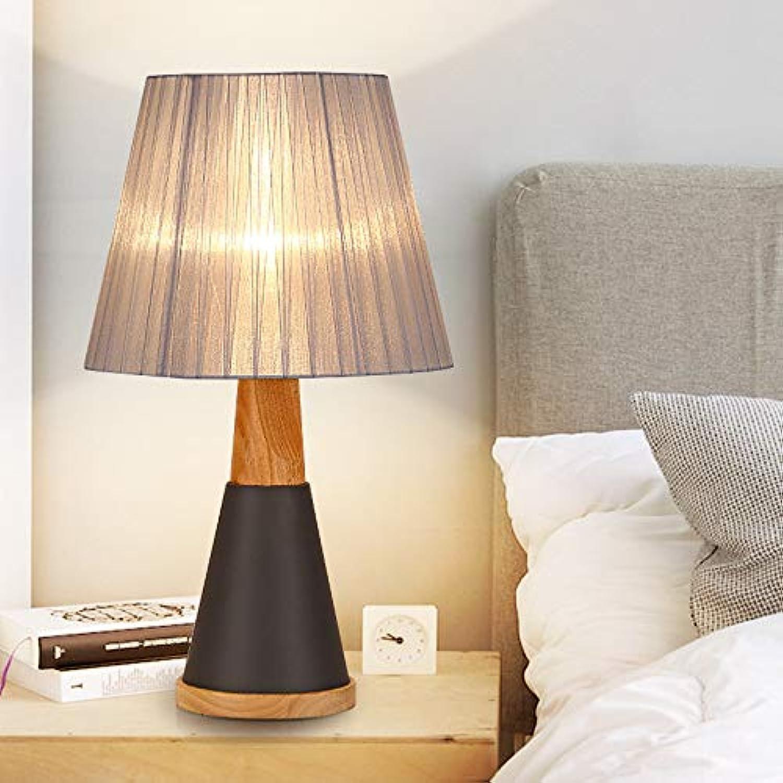 Tischleuchte Nachttischlampe Schreibtischleuchte Lampe LED-Schmiedeeisen-Holz-Nachttischlampe für moderne Schlafzimmer im nordischen Stil Tischlampe,für Schlafzimmer Wohnzimmer