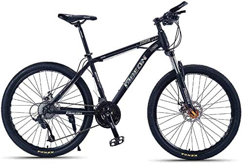Adult Mountain Bikes, 26 Inch High-Carbon Steel Frame Hardtail Mountain Bike, Front Suspension Mens Bicycle, All Terrain Mountain Bike (Color : Silver, Size : 24 Speed)