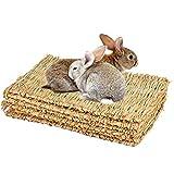 Mqforu Tapis d'herbe naturel tissé à la main pour petit animal de compagnie Jouet à mâcher Lit pour hamster, cochon, lapin et perroquet