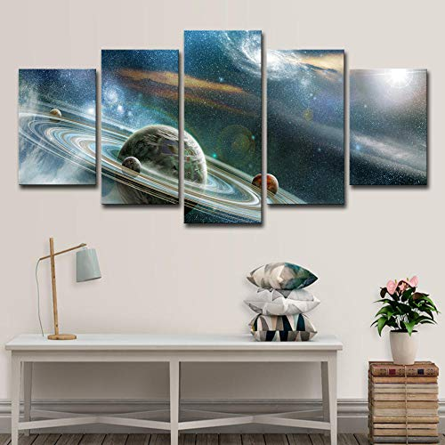 BIOAOUA Image Printed5 Combination Prints, Canvas Art Abstract Oil Painting, Universe Galaxy Painting, Living Room Wall Decoration Poster-B-With Frame_150X80CM