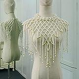 Cadena de hombro Chal borla perla cadena de hombro hecha a mano con cuentas accesorios de vestir chal diseño floral grande collar cadena cuerpo (Color de metal: oro amarillo claro)