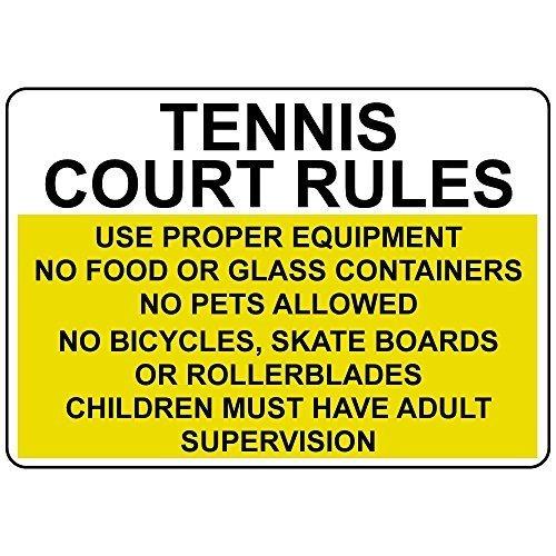 Cartelli in metallo personalizzati per esterni, regole del campo da tennis, utilizzare attrezzature adeguate, senza vetro alimentare