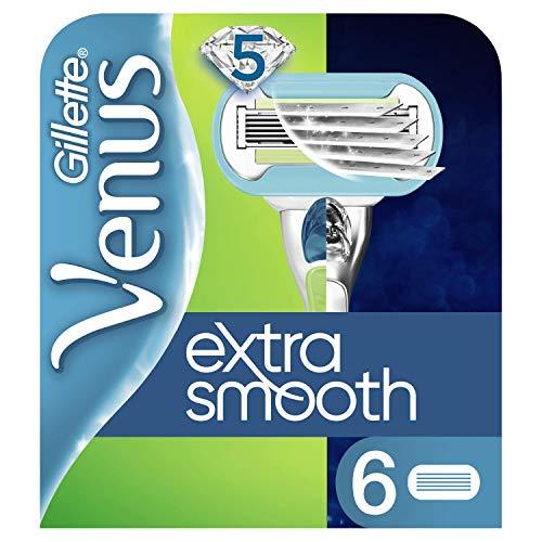 Gillette Venus Extra Smooth Rasierklingen mit Feuchtigkeitsstreifen für Hautschutz, 6 Ersatzklingen