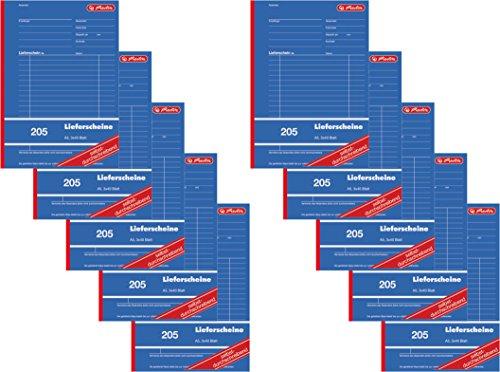 Herlitz 883546 - Libro de albaranes (A5, 205, 3 x 40 hojas, autocopiante, 10 unidades, DIN A5)