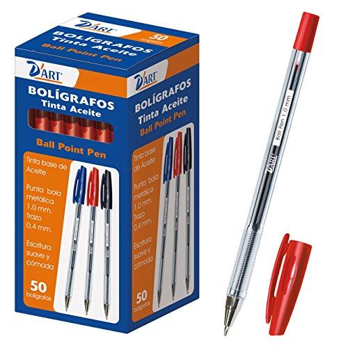 D'Art 79412 - Caja de bolígrafos, 1 mm, 50 unidades, color rojo