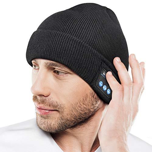 Bluetooth Beanie Cappello, Regalo per Uomo e Donna, Aggiornato Bluetooth 5.0 Musica Running Hat, Wireless Cuffie Incassato Altoparlanti Stereo HD con USB Ricaricabile per Sport Allaperto Natale Regalo