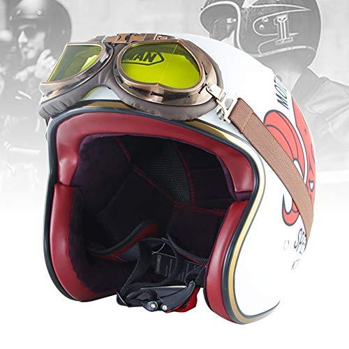 RMBDD Casco de Scooter Casco de Cara Abierta de Motocicleta 3/4 con Gafas ECE/Dot Casco de Moto Universal de Piel Sintética de Cara Abierta con Visor UV Gafas (55~64cm)