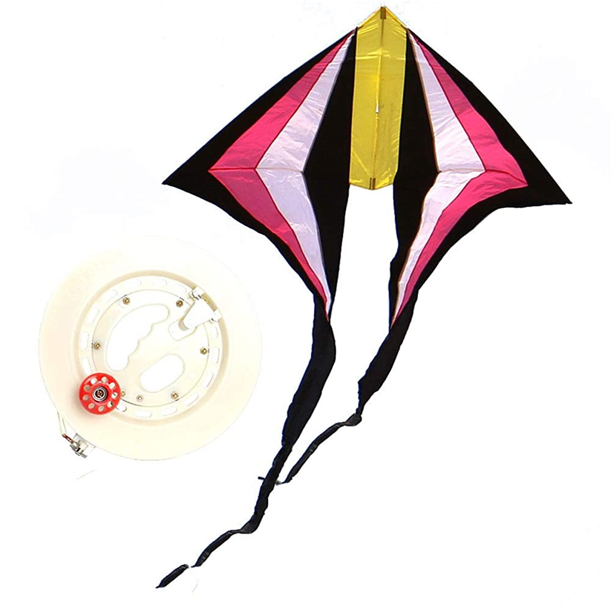 Kite,Flying Spring Toy Diamond-Shaped Kites, Adult Kites, Long-Tail Kites (with Line Wheel Easy to Fly) Kite line Wheel Puller Multi-Style Optional (Color : E)