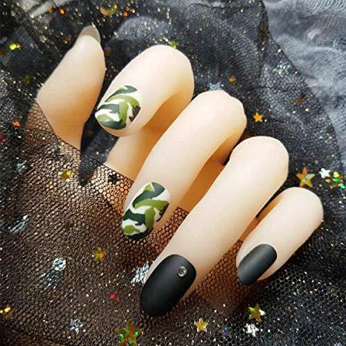TJJL Faux ongles 24 pcs/boîte avec 2G colle charmant faux ongles presse sur noir pleine couverture faux ongles frais camouflage imprimé ongles conseils pour les filles