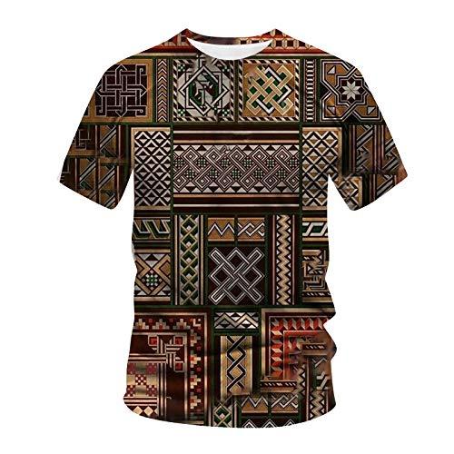 T-Shirt Männer Sommer lässig 3D-gedruckte Kurzarm Bluse mit rundem Halsausschnitt (5XL,9Kaffee)