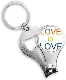 PINGFUFF HOME Lgbt虹旗愛は愛メタルキーチェーンリング多機能ネイルクリッパー栓抜き車のキーチェーン最高のチャームギフト