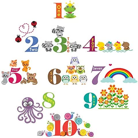 Supzone Number Animal Wall Stickers Cartoon Animal Wall Decals Educational Wall Decor for Kids product image