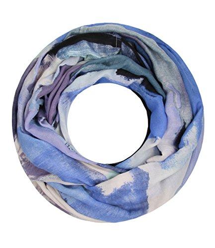 Majea Majea NEUE Saison Damen Loop Schal viele Farben Muster Schlauchschal Halstuch in aktuellen Trendfarben (blau 1)