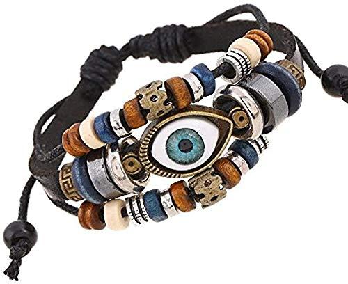 niuziyanfa Co.,ltd Pearl Eyes Joyas de Cuero Ajustables para Hombres y Mujeres Vintage Classic Unisex Lovers Charm Bracelet Sporty