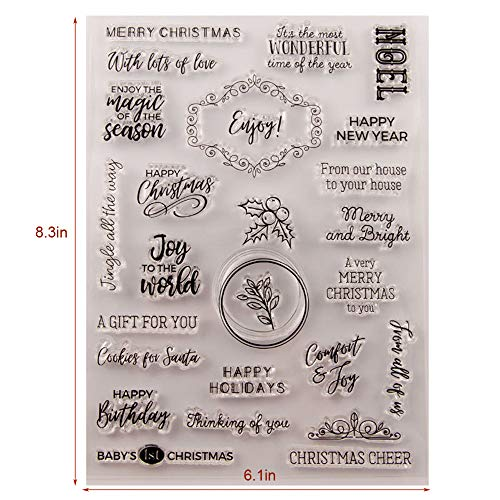Noel Merry Christmas Happy New Year Enjoy with Love Wishes Words Clear Rubber Stamps for Card Making and Scrapbooking Birthday Christmas Silicone Stamps (T1603)