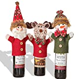 3PC Chirstmas Gnome Wine Bottle Covers Wine Bottle Sweater Dress for Christmas Holiday Party Table Decorations