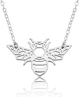 Jewelryamintra Minimalist Hollow Dainty Animal Origami Bee Shape Pendant Necklace Women Jewelry