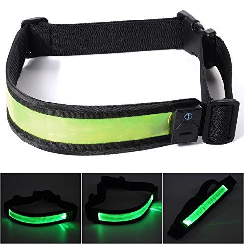 Xcellent Global Ceinture Sport de Sécurité Réfléchissant LED réglable Lithium Batteries pour Courir Course Vélo M-FS018