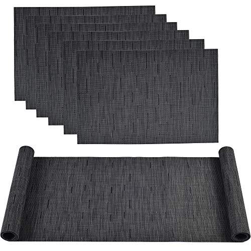 Famibay Vinly Platzsets und Tischläufer Hitzebeständig Tischsets 6er Set mit Matching PVC Tischläufer für Holztisch(Schwarz)