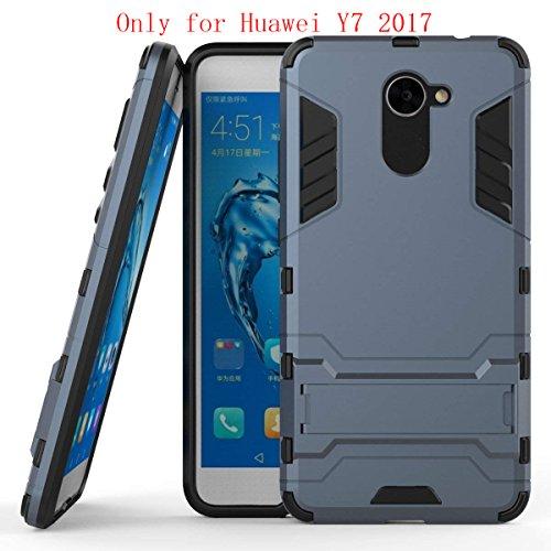 Cover Huawei Y7,SMTR Dual Layer Custodia ibrida Rigida Morbido Armatura resistente agli urti con Supporto e asportabile di protezione per Huawei Y7 ,blu marino