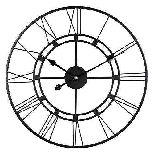 Klokken Wandklok/grote metalen beugel klokken Handmade Beeldhouwwerk van de Muur Art alarm clock (Color : Black, Size : 60cm)