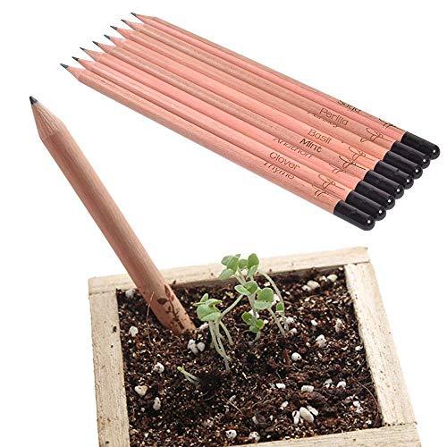BXKEJI 8ピースペンシルセット植栽鉛筆スプラウト鉛筆デスクトップ鉢植え植物|標準鉛筆