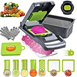 HOUPDA Vegetable Chopper Slicer Dicer, 12 in 1 Mandoline Slicer Onion Chopper, Manual Food Cutter Veggie Chopper with 8 Blades & Protective Gloves, Used for Onion, Fruit Salad, Potato, Carrot