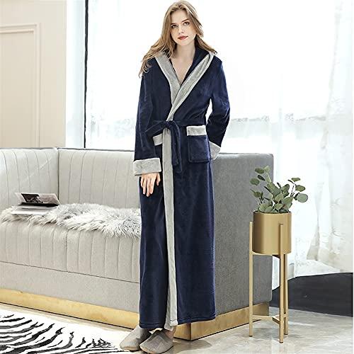 Mujeres Plus Tamaño Largo Flannel Albornoz Kimono Robas Cálidas Vestido Vestido Hombres Ropa de dormir (Color : Women Hooded Navy, Size : Medium)