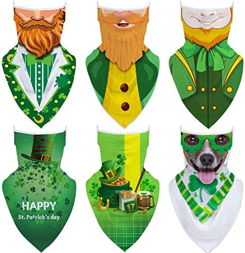6 Pieces Unisex Ear Loop St Patrick s Day Seamless Face Bandanas Multi Functional Neck Gaiter product image