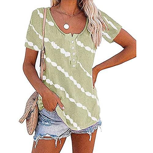 N\P Verano de las mujeres Top botón manga corta cuello redondo blanco raya impresión suelta casual algodón camiseta