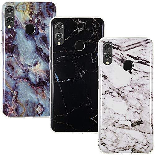 CLM-Tech Hülle 3X kompatibel mit Huawei Honor 8X, TPU Silikon-Hülle Case Schutzhülle Handyhülle 3er Set, Marmor schwarz weiß Mehrfarbig
