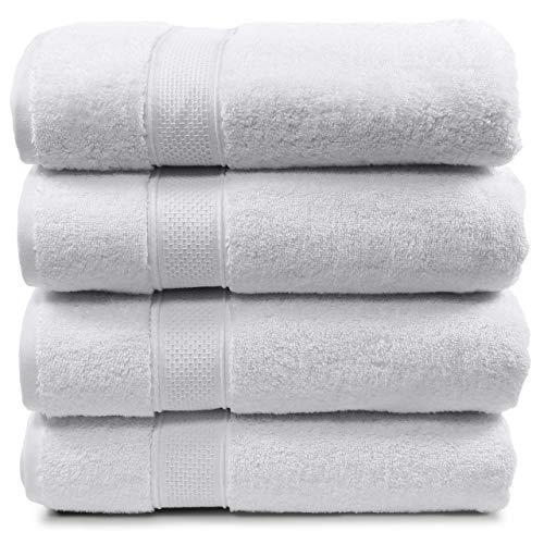 """Maura 4 Piece Bath Towels. Extra Large 30""""x56"""" Premium Turkish Towel Sets. Thick, Soft, Plush and Highly Absorbent Luxury Hotel & Spa Quality Towels for Bathroom - White"""