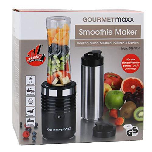 GOURMETmaxx Smoothie Maker 300 W in Edelstahl/Schwarz mit Becher to go