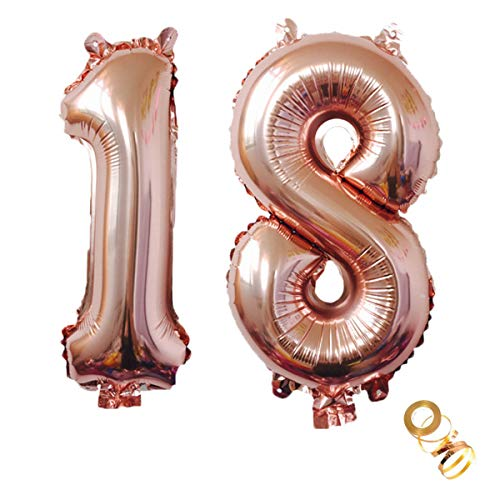 Luftballons Zahl 18, Nummer 18 Luftballon Rosegold Mädchen Luftballons 18. Geburtstag Folienballon, Zahl 18 Rose Gold Nummer 18 Ballons Große 32 Zoll Riese Heliumfolie Ballon