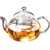Glass Teapot Lifelj Heat Resistant stainless steel Infuser Short Spout Tea pot for Tea (250ml)
