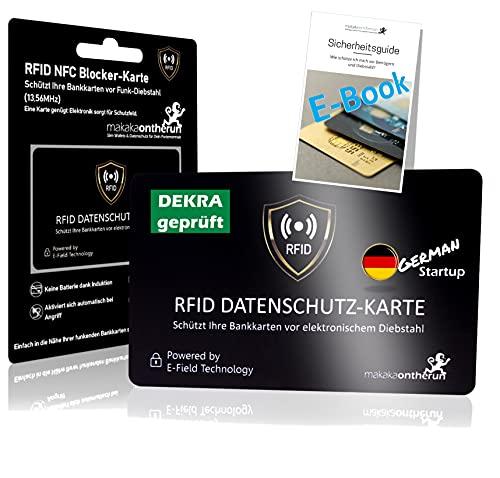 MakakaOnTheRun® RFID Blocker Karte - DEKRA Geprüft I Maximale Datensicherheit Dank 360° RFID Schutz für Geldbörsen, EC- & Kreditkarte I Extra Dünne RFID Karte I NFC Schutz