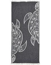 ZusenZomer Wyjątkowy turecki ręcznik hammam XL 95 x 190/200 cm - duży lekki ręcznik plażowy Fouta 100% miękka bawełna - ekskluzywne ręczniki hammam (ciemnoszary, żółw - 95 x 200 cm / 37 x 78)