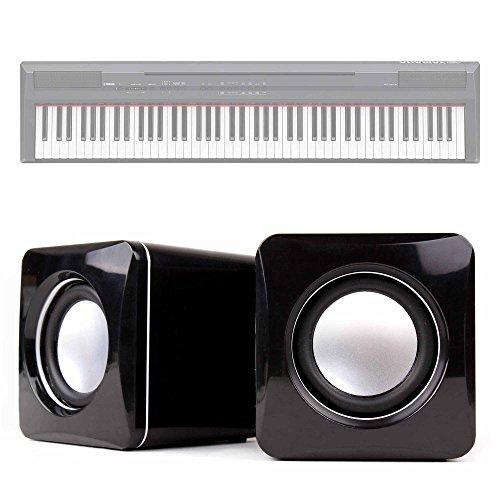 DURAGADGET Altavoces Compactos para Teclado/Piano Eléctrico Yamaha NP-V80 NPV-80, Yamaha P-105B, Yamaha P-115B, Yamaha P-115WH, Yamaha P-45B - Conexión Mini Jack + USB