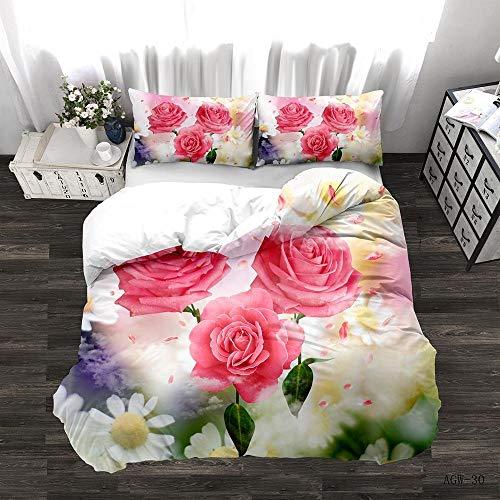 Zyttao Ropa de Cama con Estampado de Rosas en 3D, Novia, tamaño King Doble Individual, cómoda Funda nórdica y Funda de Almohada-4_225 * 225cm3 (pcs)