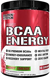 Evlution Nutrition BCAA Energy - High Performance Amino Acid Supplement for Anytime Energy, Muscle Building, Recovery and Endurance, Pre Workout, Post Workout (Cherry Limeade, 30 Servings)