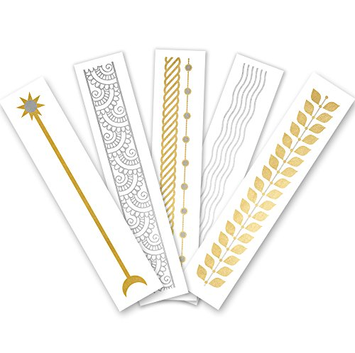 Arm Party Variety Set of 25 assorted premium waterproof bracelet metallic gold & silver jewelry temporary foil party Flash Tattoos, bracelet tattoo, temporary tattoo, party supplies, festival, boho