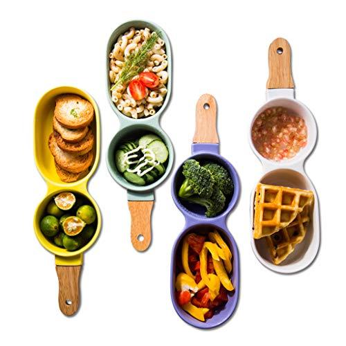ZJ-Children's plate Vaisselle en Porcelaine créative avec Manche en Bois, Assiettes de Repas variées pour équilibre et sécurité, régime de Salade Bol de crème glacée aux Fruits, 4 Couleurs